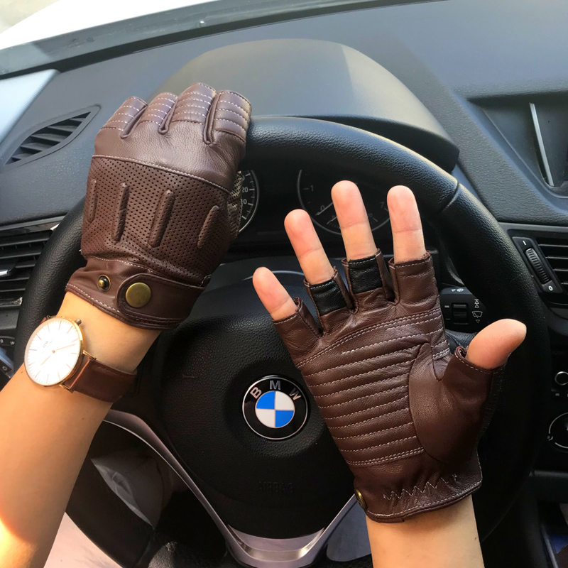 Man Half Finger Gloves NEW Summer Mens Goatskin Retro Motorcycle Leather Gloves Male Semi-Fingers Non-slip Driving Gloves