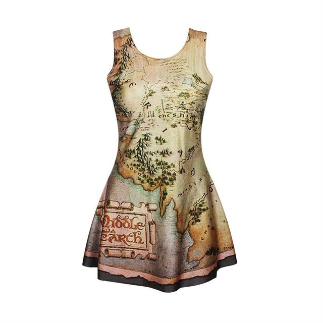 Middle Earth Map Skater Two-way Singlet Dress Sleeveless Summer Dress