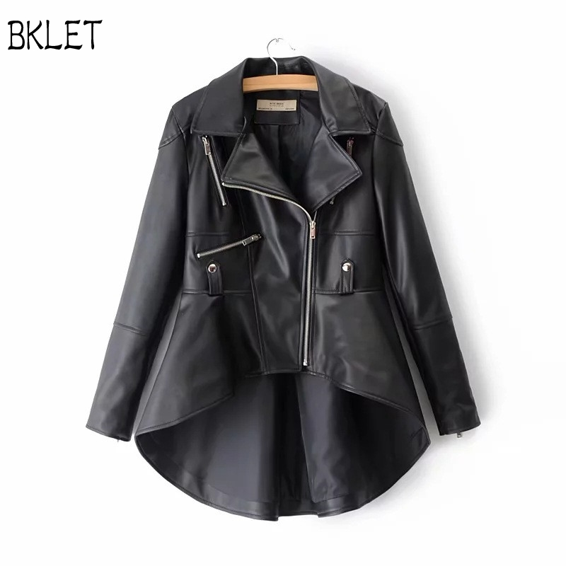 2018 New Woman Gold Faux PU Leather Jacket Girl Short Front Long Back Asymmetrical Office Ladies Blazer collar High Low Coats