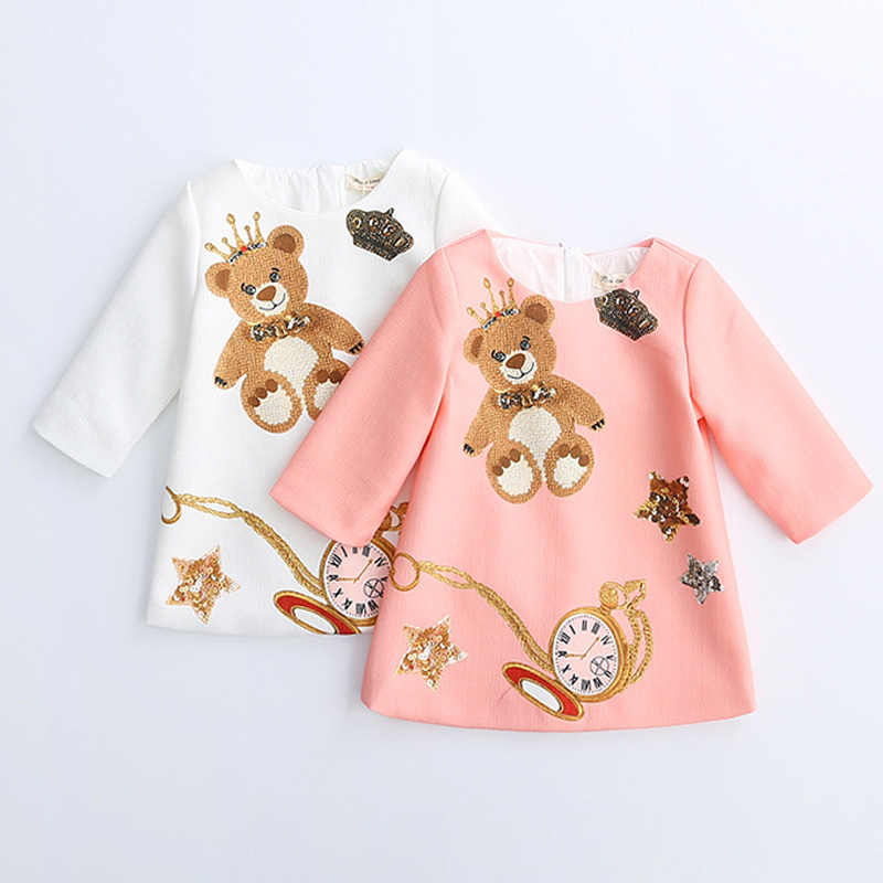 2017 European and American style children clothing girls fashion character pattern girls half sleeve dresses spring autumn girl