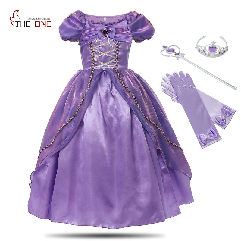MUABABY Girls Princess Rapunzel Dress Costume Children Deluxe Tangled Dress up Clothing Kids Girl Part Dress Halloween Birthday 2017 rapunzel cosplay dress children girls long hair princess dress halloween costume clothes kids clothing with sleeves garland