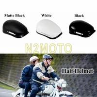 3 Color Half Face Vintage Motorcycle Helmet Fiberglass Shell Novelty Helmets For Unisex Cafe Racer Leisure Style Motobike Helmet