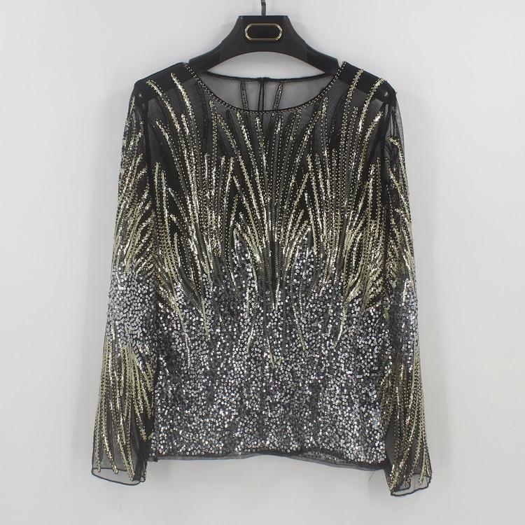 2018 Bling Sheer Body Crop Top Blusas Feminina Lace Mesh Long Sleeve Floral  Embroidery Sequin Beading Women Shirt Blouse Top eb0e835e2517