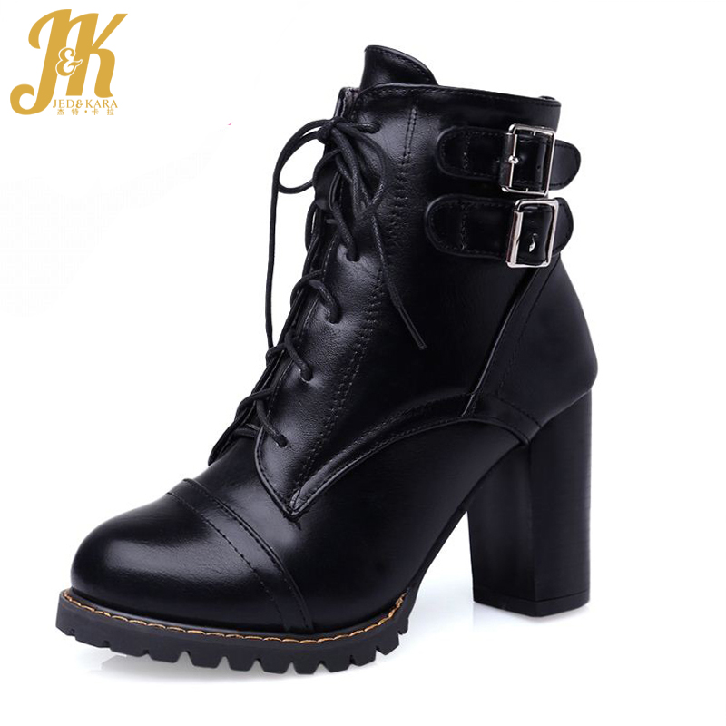 ФОТО Plus Size 34-47 Elegant Thick High Heels Buckle Short Boots Add Fur Fashion Lace Up Skid Proof Platform Fall Winter Shoes Woman