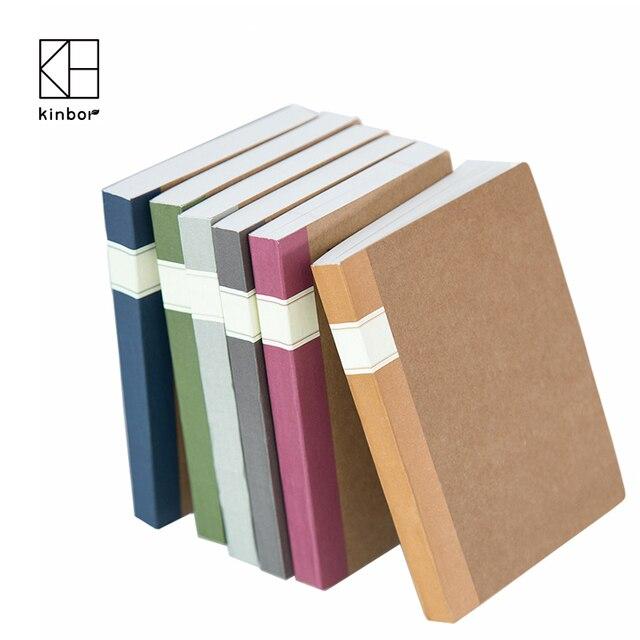 Kinbor A6 Cuaderno de Papeles de Relleno Simple de Alta Calidad 6 Estilos 128 Hojas Memo Kraft Cubierta Diario de Oficina y Escolares estudiantes