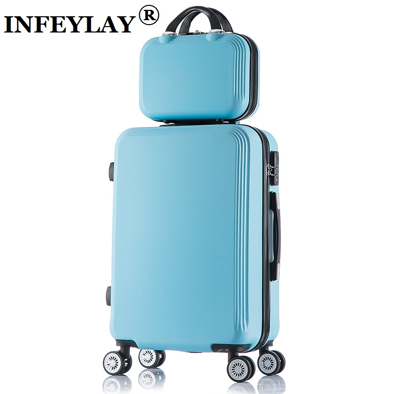 2PCS/set 20/24 inch fashion students trolley case women Cosmetic bag Travel luggage girl rolling suitcase business Boarding box артур конан дойл шерлок холмс ведет следствие three adventures of sherlock holmes mp3