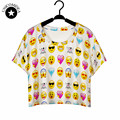 2017 Top Summer funny Short shirts Tops Women 3D QQ Emoji Smile Face Printed Vest Girls short t shirts Cheap Clothes plus size