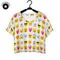 2017 Top Verão engraçado shirts Tops Curtos Mulheres 3D Emoji QQ sorriso Rosto Impresso Vest Meninas camisas curtas t Barato Roupas mais tamanho
