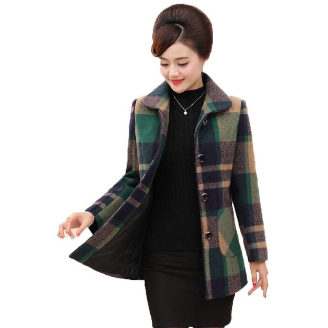 mujeres abrigo Mujer otoño edad WAEOLSA Plaid lana mediana Tweed q7nvw