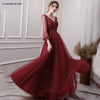 Robe de soiree2019 new sexy V neck tulle crystal long sleeve A lineburgundy blue Moroccan evening dresses long abendkleider