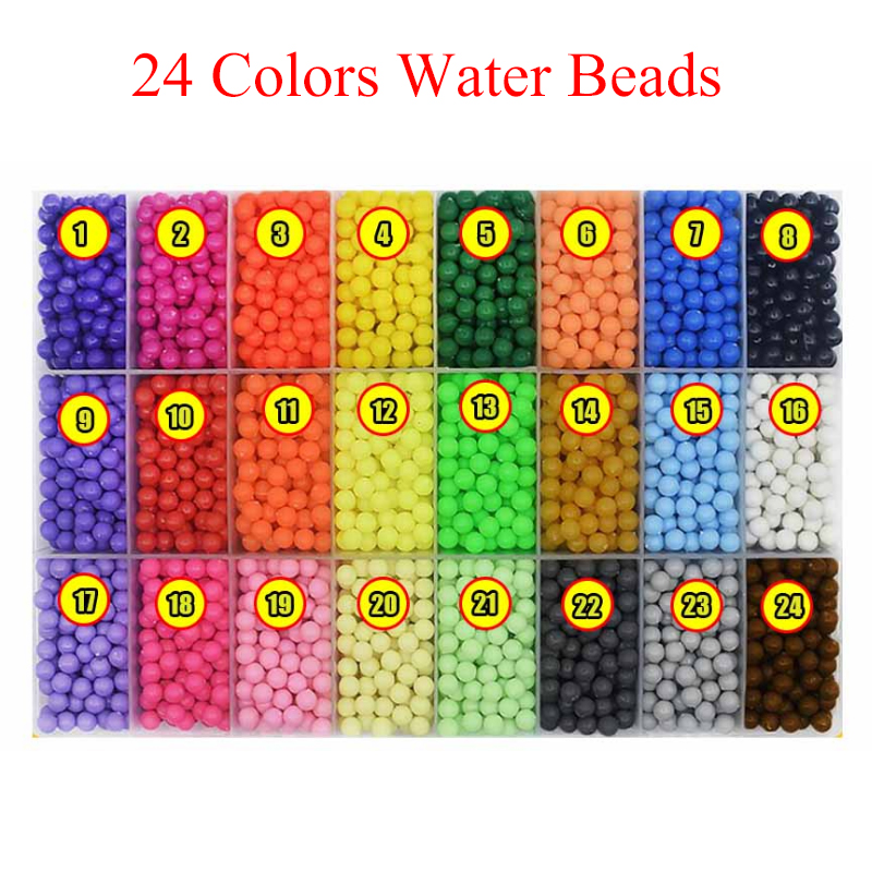 New 1 Set 24 Colors About 3000 Pcs Colorful Water Stick DIY Magic Beads Ball Puzzle Mixed Color Game Toy For Children Bead Gift