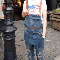 Brand New Male Suspenders Casual Men S Denim Overalls Bib Jeans Front Pockets Blue Ripped Jeans
