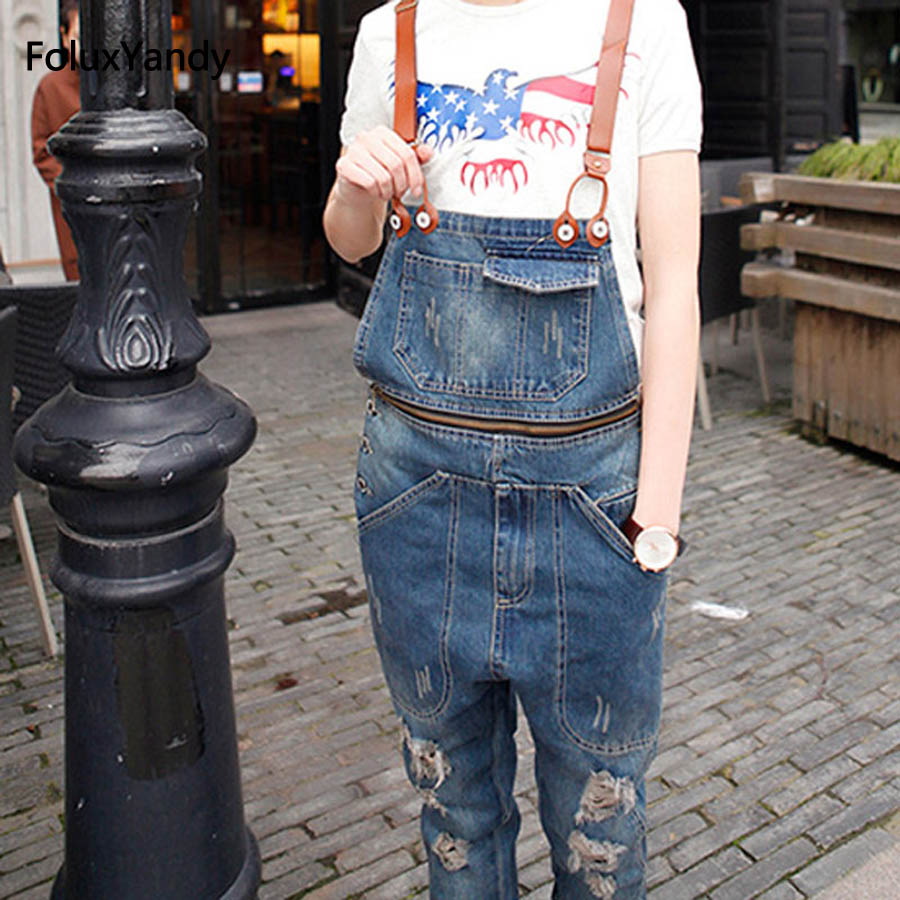 Brand New Male Suspenders Casual Men's Denim Overalls Bib Jeans Front Pockets Blue Ripped Jeans Jumpsuits OR03 male suspenders 2016 new casual denim overalls blue ripped jeans pockets men s bib jeans boyfriend jeans jumpsuits