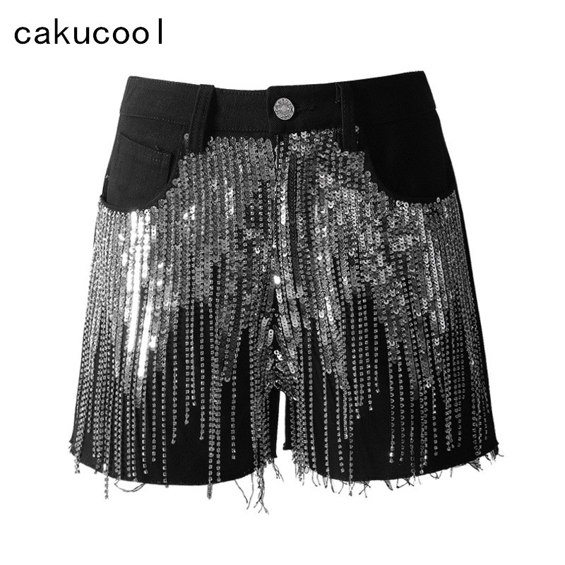 Cakucool New Summer Shorts Women Black Denim Shorts Silver Sequined Tassels Patch Jeans Sexy Boot Cut Club Punk Shorts Female