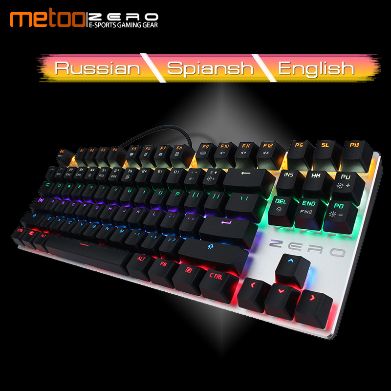 Metoo Mechanical Keyboard 87/104 keys Anti-ghosting Luminous Blue Black Red Switch Backlit wired Gaming Keyboard for Game player ювелирные браслеты amorem браслет под крылом ангела