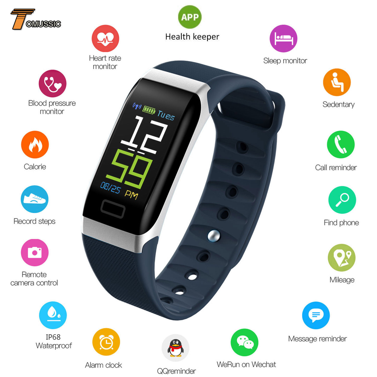 Bluetooth V4.0 <font><b>Smart</b></font> <font><b>Watch</b></font> Band <font><b>R7</b></font> IP68 Waterproof <font><b>Smart</b></font> Bracelet Wristband Remote Camera Call SMS Message Sleep Fitness Tracker image
