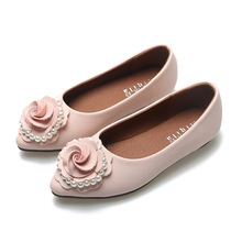 Childrens Flats Little Girls Pearls Shoes Princess Flower Pink Kid Fashion Apricot Girl Party Shoe Cute Dance