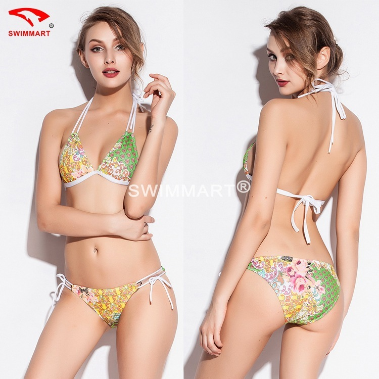 2016 New Pattern Sexy Spelling Color Bikini Eaby Heat Sell Printing Gauze Swimming Suit