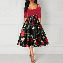 цены Plus Size 4XL Women Dress Floral Print High Waist Vintage Summer Retro Elegant Short Sleeve Ladies A-Line Dresses vestidos P40