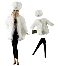 Fashion White Fur Coat Clothes Set for 30cm Barbier Doll Accessories Play House Dressing Up Costume Kids Toys Gift