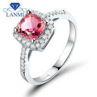 Fashion Cushion 6 mm 14 Kt White Gold Diamond Pink Tourmaline Wedding and Engagement Rings RI31TOU