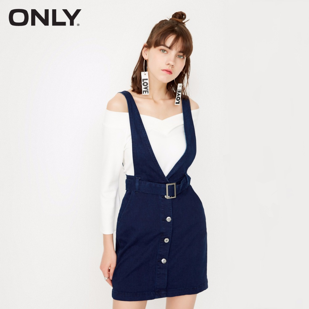 ONLY  Women 2-pieces set  single breasted tie up Waist band denim dress female |117342515