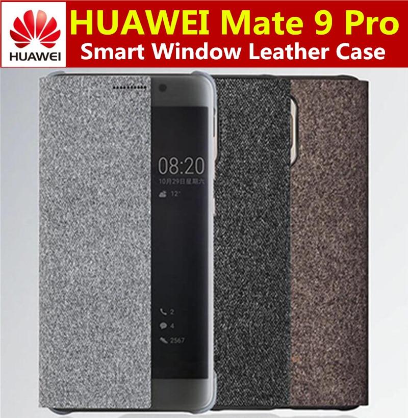 imágenes para 100% oficial original de huawei mate 9 pro case cubierta del teléfono elegante original ventana cubierta de cuero del tirón para huawei mate9 pro coque
