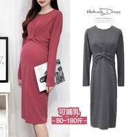 Maternity Long Sleeved Dress gravida Nursing Dresses Breast Clothes For Pregnant Women Maternidade Pregnancy Feeding Clothing