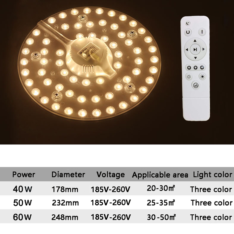 HTB1OLb7T4TpK1RjSZFKq6y2wXXaz Remote control Replaceable LED Light Source For Ceiling Three color 40W/50W/60W 185V-240V With Magnet Led Lights Replacement