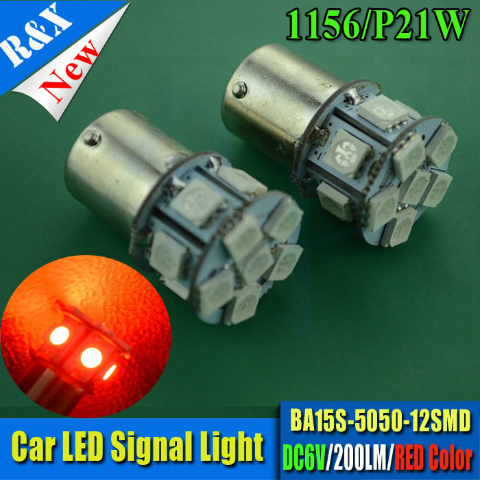 Pair 1156 5050 BA15S LED Bulb P21W 12SMD Red Car Lamp Automotive Bulb 6V Motorcycle bike Auto Light