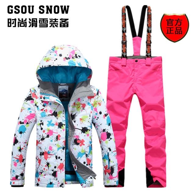2016 New hot women's ski suit female snowboarding suit set ladies flower printing ski jacket and bib pants skiwear snow suit
