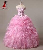 2016 Pink Cheap Quinceanera Dresses Sweetheart Beads Crystals Pleat Ball Gown Floor Length Vestidos De 15