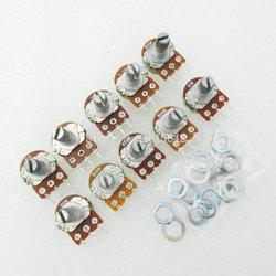 10 قطع WH148 الجهد الخطي كيت واحدة مشتركة B1K 2 كيلو 5 كيلو 10 كيلو 20 كيلو 50 كيلو 100 كيلو 250 كيلو 500 كيلو 1 متر أوم 3Pin 15 ملليمتر رمح مع Nut و Washe