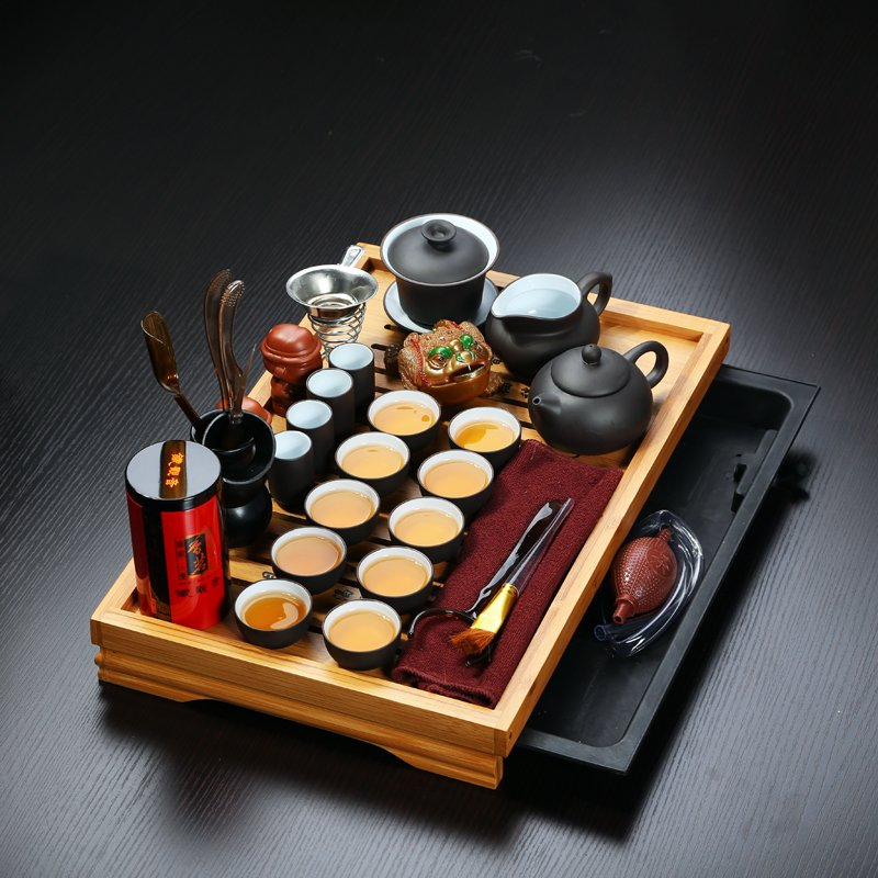 Offre spéciale 32 pièces Drinkware chinois Yixing argile Gaiwan Kung Fu plateau à thé en bois massif ensemble Pot en céramique tasse en porcelaine cadeau idéal