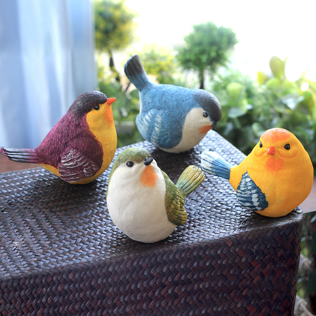 5inch Mini Resin Blue Bird Garden Or Home Decor Figurines Songbird Clic Figurine