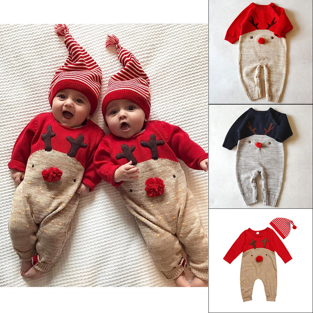 Christmas Newborn Baby Clothes Warm Baby Rompers Baby Boy Clothing Autumn Winter Baby Girl Jumpsuit Roupas Bebes Infant Costume