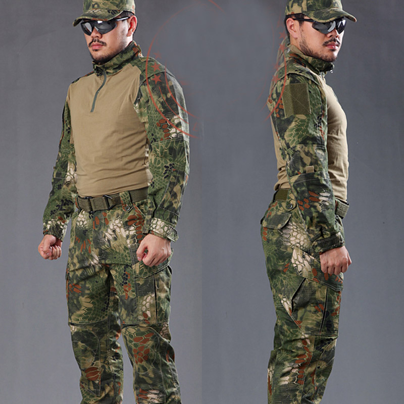 Man Snake Camouflage Military Uniform Army SWAT Equipment Tactical Combat Airsoft Suit Pants Shirts Hunting Clothes 2017 camouflage suit hunting clothes military uniform sets army combat frog suit airsoft tactical shirts