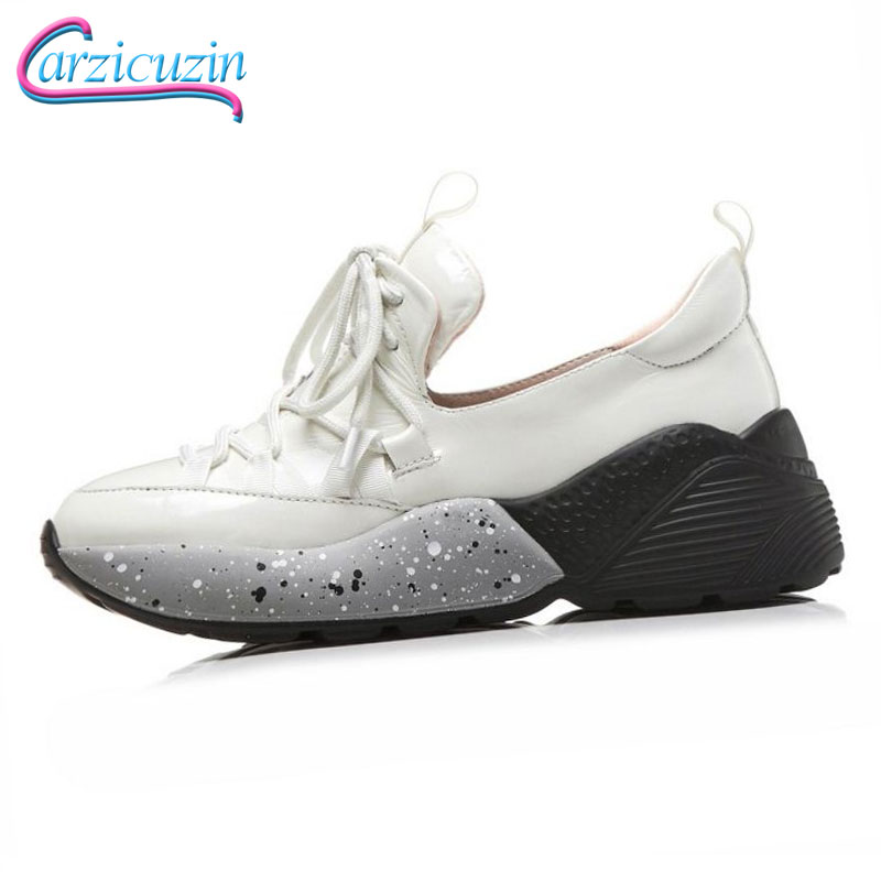 Cuero 35 Nueva Negro Deporte Diario Zapatos 39 blanco Moda Casuales Tamaño Mujer 2019 Carzicuzin Genuino Primavera Vulcanizados Vacaciones De Zapatillas qawFA