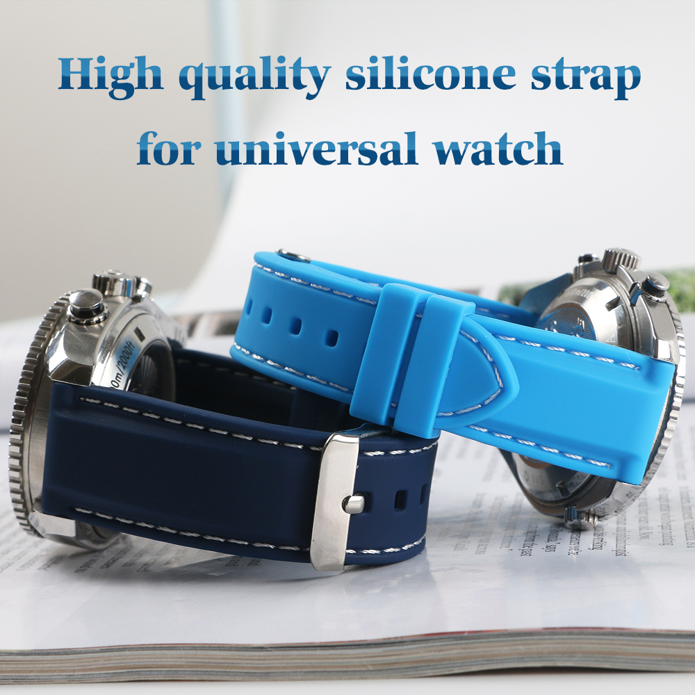 Waterproof Watchband Rubber Silicone Strap For Seiko Casio Watch 18mm 20mm 22mm Black Blue Diving Sports For Tissot Man +Tools