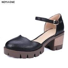 NEMAONEขนาดบวก34-43ร้อน2018สีดำผู้หญิงปั๊มตื้นหนารองเท้าส้นสูงBowtieรองเท้าทำงาน