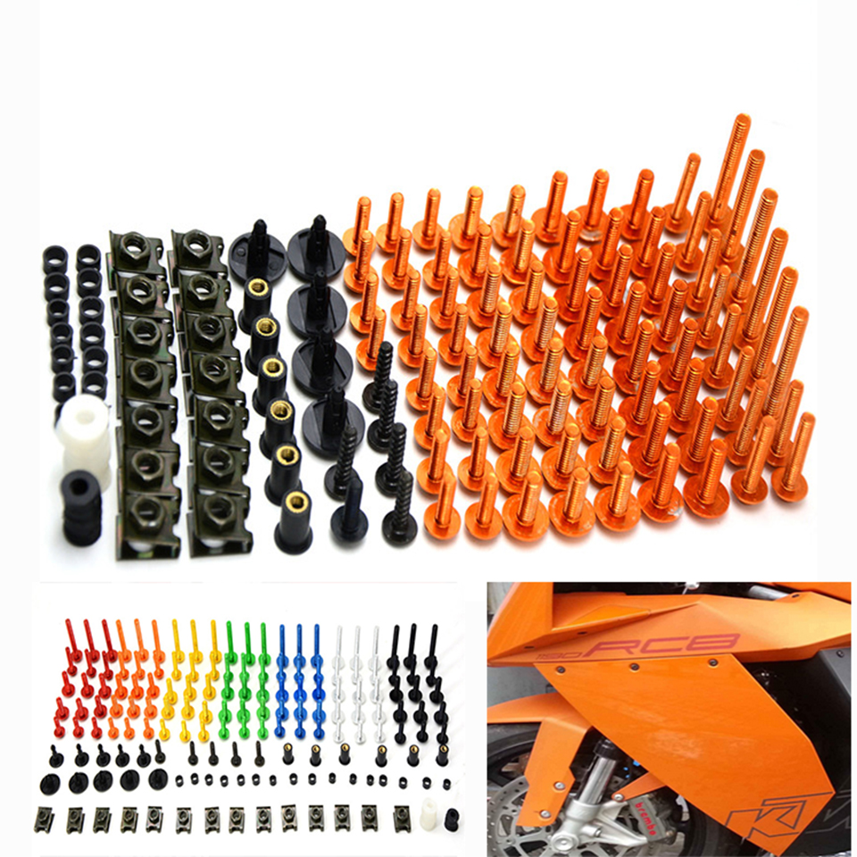 76 PCS Universal Motorcycle Fairing Body Bolts Spire Screw Spring Nuts FOR KAWASAKI Ninja 250 300 650 H2R ZX-6R Z750 Z800 Z1000