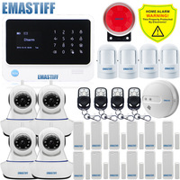 Free Shipping English Russian Device WiFi GPRS SMS Home House NEW Fire Smoke GSM Alarm System