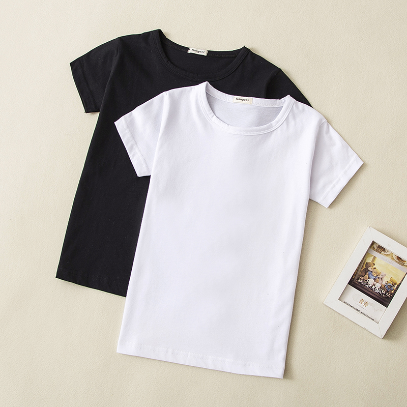 Wholesale Cotton Children T Shirts Short Sleeve O Neck Top Tees For Kids Baby Girl Boy Casual Shirts 0-14t 5pcs/Lot image