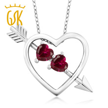 GemStoneKing 1.20 Ct Red Created Ruby Pendant Heart and Arrow For Women Wedding Genuine Solid 925 Sterling Silver Fine Jewelry