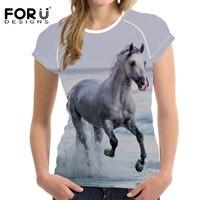 FORUDESIGNS Woman Tshirt Top Black Crazy Horse Shirt Harajuku Short Sleeved Casual Shirt For Women Slim