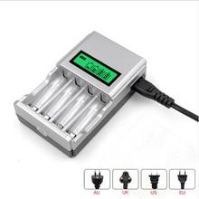 Hoge Kwaliteit 1.2V 4 Slots Aa Aaa Ni Mh Ni Cd Quick Charge Battery Charger Met Lcd scherm Met eu Au Vs Uk Plug