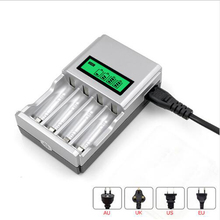 Wysokiej jakości 1.2V 4 gniazda AA AAA NI MH ni cd szybkie ładowanie baterii ładowarka z wyświetlaczem LCD z wtyczką ue AU US UK