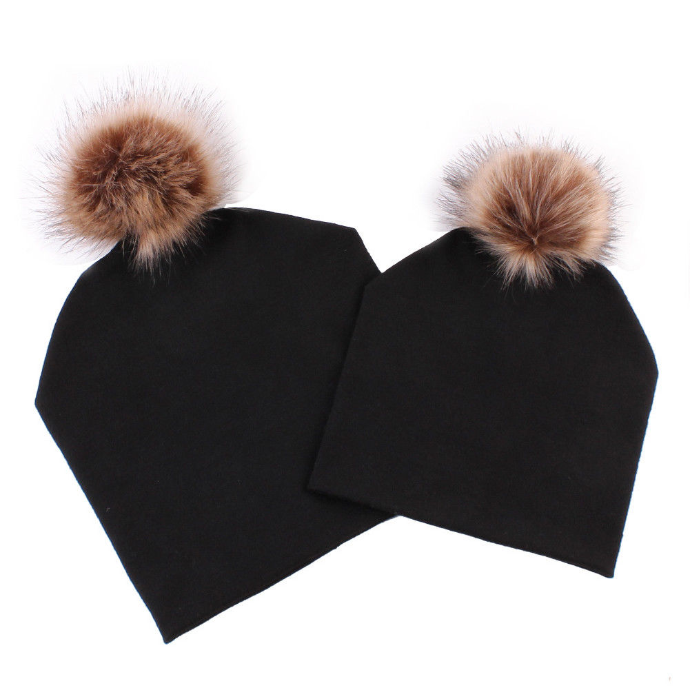 Hats & Caps 2pcs New Fashion Unisex Mom Baby Kid Warm Double Cotton Cloth Parent-child Hat Baby And Mother Fox Fur Ball Cute Hat