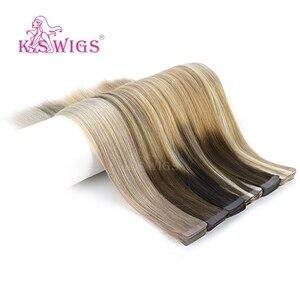 Image 5 - K.S かつらレミー人間の髪ダブル描かストレートシームレススキン横糸ヘアエクステンション 16 20 24 10 ピース/パック