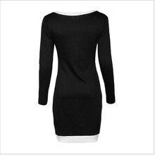 2018 New Spring Dress Fashion Women Clothing  Casual Long Sleeve O-Neck Patchwork Black Dresses Sexy Slim Cross Irregular Dress